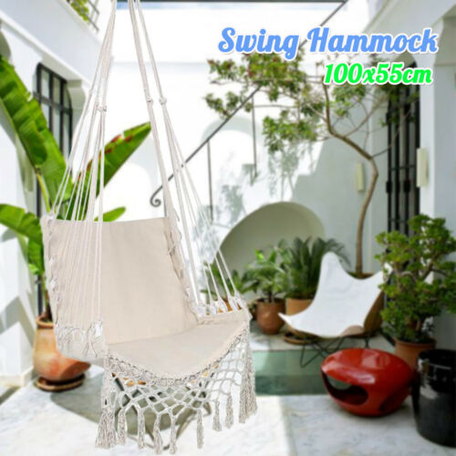 White Hanging Woven Rope Swing Chair Macrame Hammock Seat Outdoor Indoor Garden Buy Products Online With Ubuy Sri Lanka In Affordable Prices 312775318327