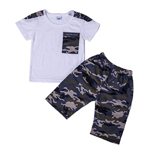 Toddler Infant Kids Baby Boys Camouflage T shirt Tops+Shorts Outfits Clothes Set