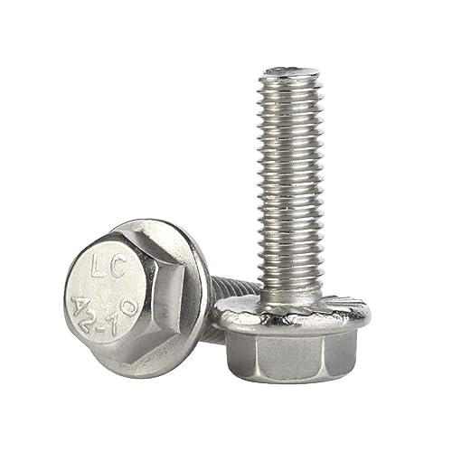 Stainless Steel A2-70 25 PCS DIN 6921 M6-1.0 x 30mm Flanged Hex Head Bolts Flange Hexagon Screws