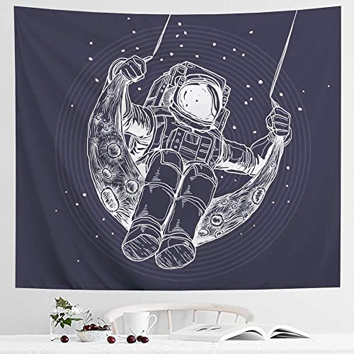 Icosamro Astronaut Men Tapestry Wall Hanging Cool Man In Outer Space Galaxy Wall Decor Hemmed Edges Hooks Hippie Man Wall Art For Bedroom Living Room College Dorm Blue Sketch 51x60 Buy