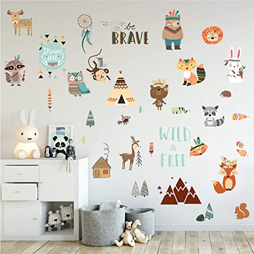 Buy Jesplay Boho Animals Nature Adhesive Wall Decals Wall Décor Stickers For Kids Toddlers Include Wall Decals Of Boho Style Removable Wall Decor For Bedroom Living Room Nursery Classroom
