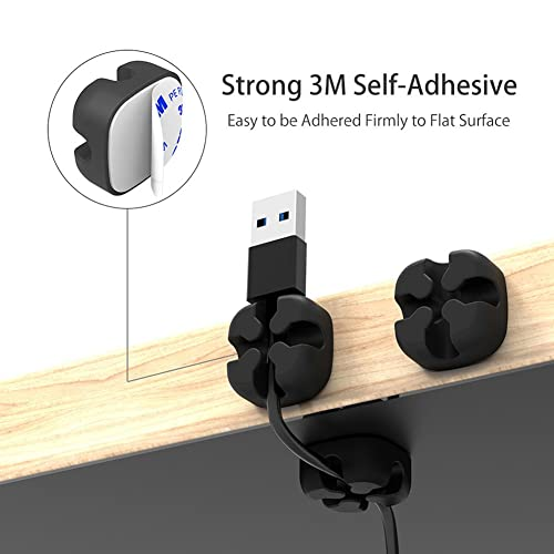 Black Cable Clips Holders 10 Pcs Cable Tidy Clips Management,for Power Cords and Charging Accessory Cables Mouse Cable PC Office and Home