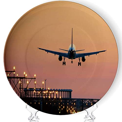 Buy C Coaballa Landing Airplane During Sunset Barcelona El Prat Aeroport Art Pastoral Home Creative Fashion Colorful Plate Display Plate Crafts With Stand 044364 For Exhibition Hall 6 Online In Sri Lanka B0834z4pqs
