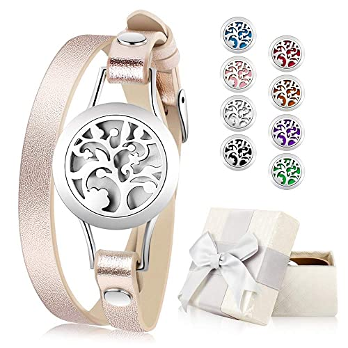 Essential Oil Diffuser Bracelet Aromatherapy Bracelet Jewelry Stainless Steel Locket Leather Band With 8pcs Washable Refill Pads Birthday Gifts For Women Girlfriend Mother Sister Aunt Buy Products Online With Ubuy Sri Lanka In Affordable