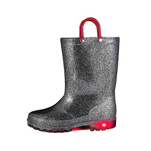 K KomForme Kids Rain Boots Waterproof Light up Boots with Easy-on Handles