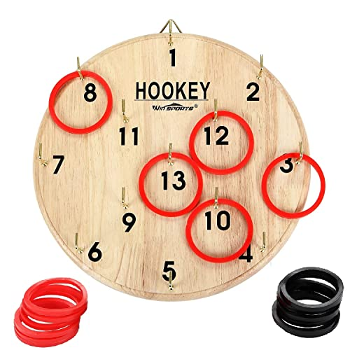 Win Sports Hook And Ring Toss Game For Kids Adults Hookey Outdoor And Indoor Fun Exciting Gift Idea Safe Durable Design Includes 13 Metal Hooks And 14 Rubber Rings