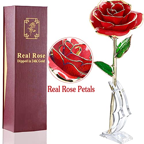 Buy Amenon Valentines Day Gift 24k Gold Dipped Rose Real Rose Anniversary Gifts For Her Everlasting Rose For Mom Wife Women Wedding Proposal Birthday Presentswith Moon Stand Gift Box Online In Sri