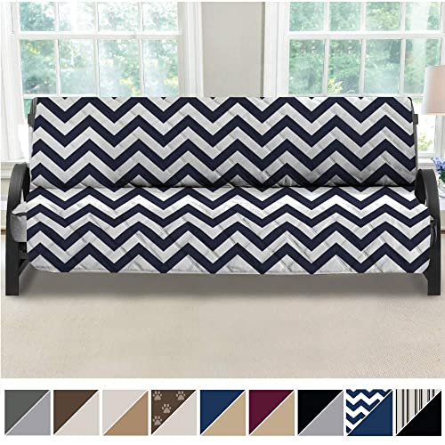Mighty Monkey Premium Reversible Futon Slipcover Seat Width To 70 Inch Furniture Protector 2 Inch Elastic Strap Washable Slip Cover For Futons Protects From Kids Dogs Futon Chevron Navy White Buy