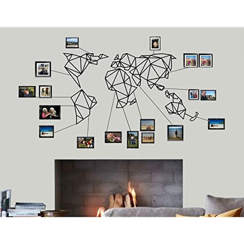 Buy Xxxxxl Large World Map Wall Art Geometric World Map 3d Wall Silhouette Metal Wall Decor Home Office Decoration Bedroom Living Room Decor Sculpture 5 Pieces Black 69 W X 38 H