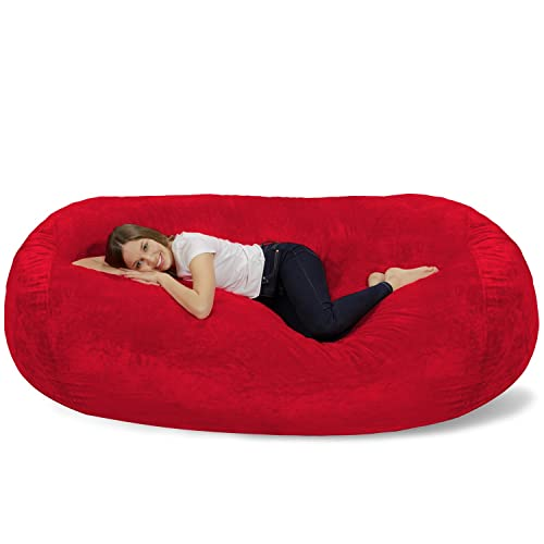 Chill Sack Bean Bag Chair Huge 7 5 Memory Foam Furniture Bag And Large Lounger Big Sofa With Soft Micro Fiber Cover Red Furry Buy Products Online With Ubuy Sri