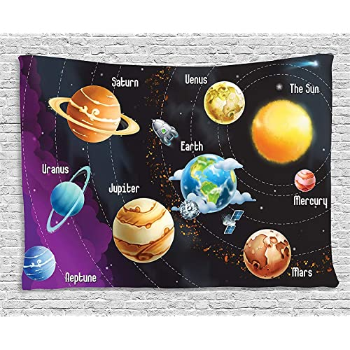 Buy Outer Space Tapestry Wall Bts Solar System Of Planets Milky Way Neptune Venus Mercury Sphere Illustration Wall Art Decoration For Bedroom Living Room Dorm 90 W X 60 L Inches Orange