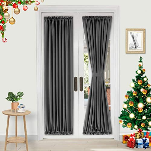 Dwcn French Door Curtains Rod Pocket Thermal Blackout Curtain For Doors With Glass Window Kitchen And