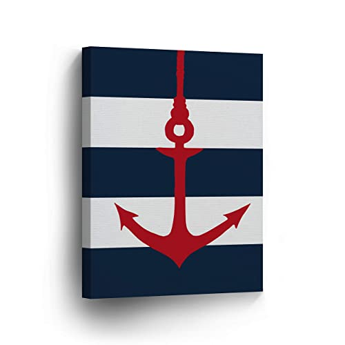 Buy Anchor Red Illustration Navy Blue And White Striped Background Nautical Decor Canvas Print Coastal Wall Art Home Decoration Stretched Ready To Hang 100 Handmade In The Usa 12x8 Online In Sri Lanka
