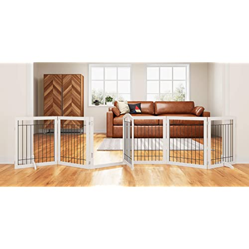 Pawland 144 Inch Extra Wide 30 Inches Tall Dog Gate With Door Walk Through Freestanding Wire Pet Gate For The House Doorway Stairs Pet Puppy Safety Fence Support Feet Included White 6 Panels Buy