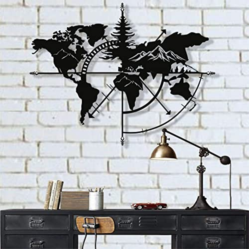 Buy Dekadron Metal World Map Wall Art World Map Mountains 3d Wall Silhouette Metal Wall Decor Home Office Bedroom Living Room Decoration 40 W X 30 H 101x76cm Online In Sri Lanka